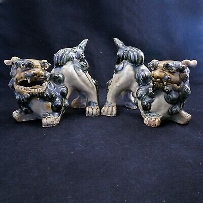 Pair of Chinese Republic Ceramic Foo Dogs Early 20th Century