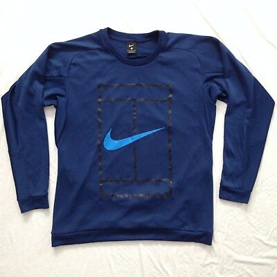 Nike NIKECourt Men's Court Logo Crew Long Sleeve Tennis Shirt Coastal Blue Large