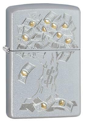 "Zippo 29999, ""Money Tree Design"" Satin Chrome Finish Lighter, Full Size"