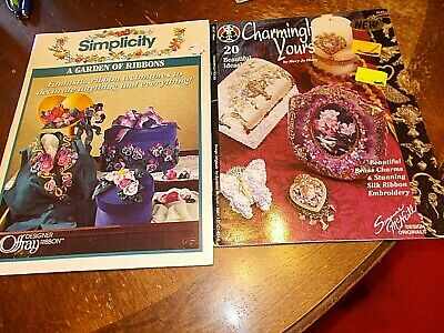 lot 2 books silk ribbon embroidery techniques patterns McNeill simplicity