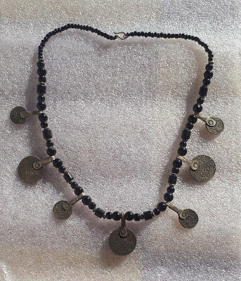 Ancient Necklace with old silver coins metal  musem Artifact Very rare -Unique