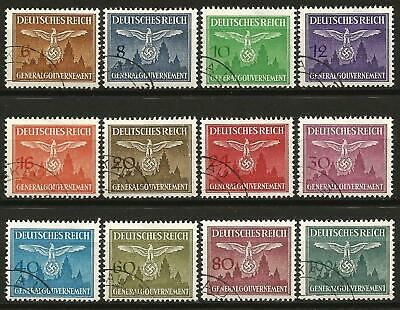 Germany Third Reich Occupation Poland GG 1943 Used Officials 3rd Issue Set of 12