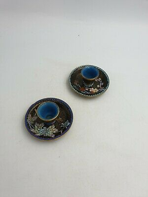 Chinese Cloisonne Enamel Small Candlestick Holders Black Prunus Floral Gold-Pair
