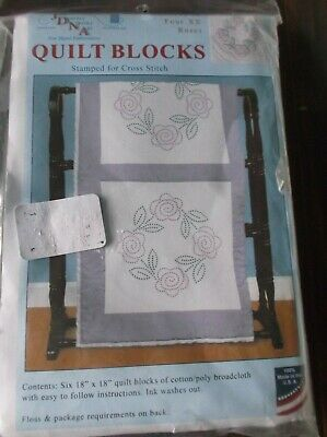 Jack Dempsey Stamped For Cross Stitch Quilt Blocks Four Xx Roses