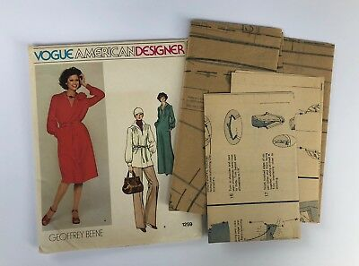 VTG VOGUE American Designer GEOFFREY BEENE Dress Pants Uncut Pattern Sz 18 #1259