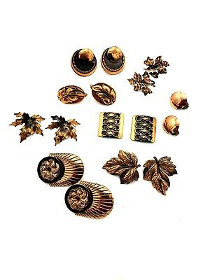 Vintage COPPER Earring Lot 7 Pair Floral Leaves Modern Circles