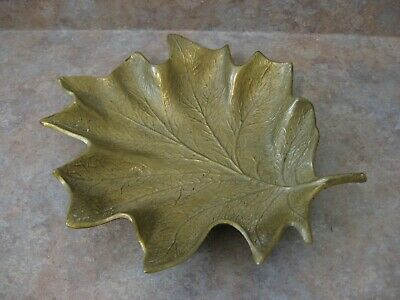 Antique Metal Brass Leaf Dish Solid Brass Made By Cambron