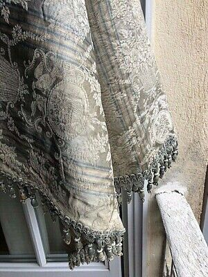 Antique French Silk Stripe Damask Fabric With Silk Tassels Mid1800's Stunning