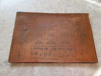 Antique Etched Copper Printing Plate -  Spriggs Furniture Store London C.1900