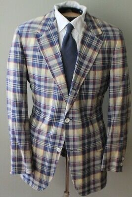 Brooks Brothers Trad Ivy Gold Multi Color Bleeding Madras Cotton Jacket Sack Cut