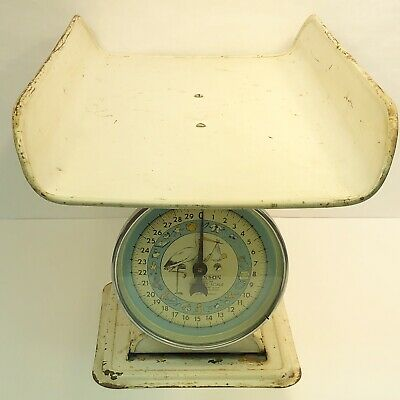 Hanson Nursery Scale DISTRESSED Model 3025 Blue White 30 Pounds Vintage Baby