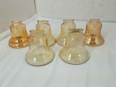 Vintage Lot of 6 Glass Liberty Bells Coin Bank - Various Shades of Amber