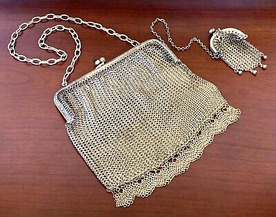 STERLING SILVER COIN PURSE & ALPACA Chatelaine MESH PURSE Antique VICTORIAN