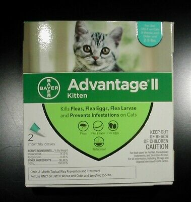 Bayer Advantage II Small Cat/Kitten 2-5 lbs (2 Pack) Comes w/Box 100% Genuine!!!