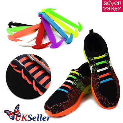 No Tie Elastic Silicone Shoe Laces Shoelaces Sneakers Runners Adult Unisex