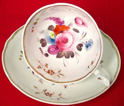 Coalport Antique (#2) Fancy Cup & Saucer Hand Painted, England Early 1800s