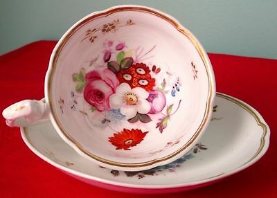 Antique Coalport (#1) Fancy Cup & Saucer Hand Painted, England Early 1800s