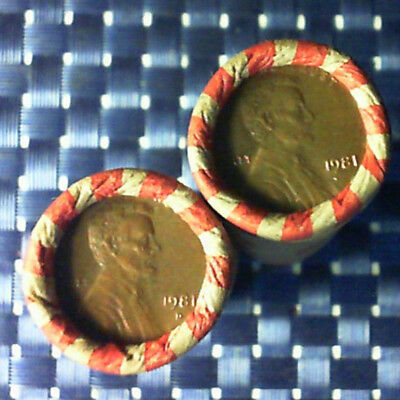 2 Rolls 1981 1-P 1-D Copper Lincoln Memorial Us Penny Roll Circulated Cent