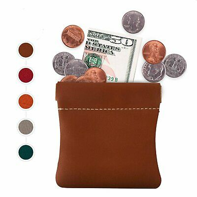 LEATHER Squeeze Pinch top Facile Frame COIN CHANGE Pouch Purse Wallet Handmade