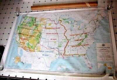 1964 U.S.A.Survey Informational Historical Features & Boundaries Wall Map 38x61
