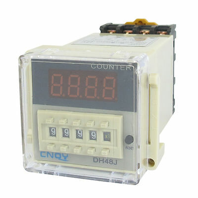 H● DH48J 1-999900 Count Up Digital Counter Relay w Base AC/DC 12V 50/60Hz.