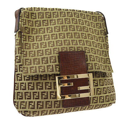 118e9df98f Auth FENDI Mamma Baguette Zucchino Cross Body Shoulder Bag Brown Canvas  AK29564