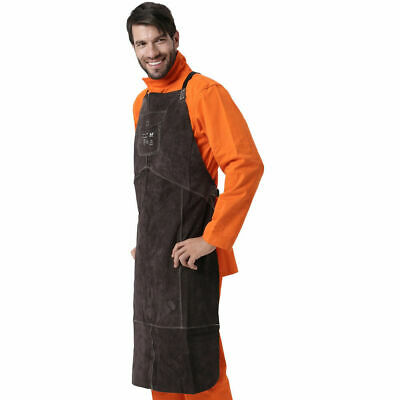 Welding Protective Gear Cowhide Leather Welder Work Apron With Chest Pocket