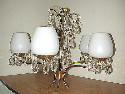 Vintage Brass 5-Arm Hanging Chandelier Light Fixture With Crystal Glass Prisms
