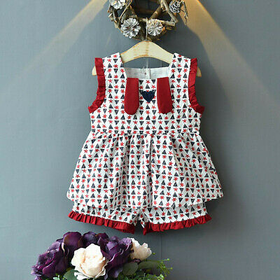 Infant Kids Baby Girls Outfits Cartoon Print Vest Floral Shirt Tops+Shorts Set