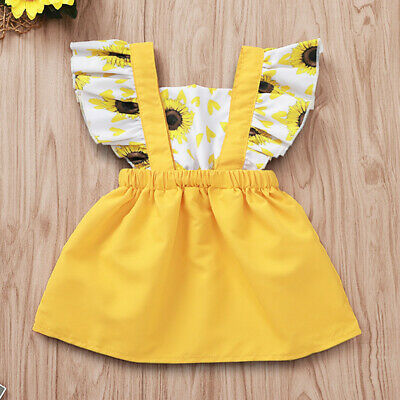 Summer Toddler Newborn Infant Baby Girls Ruffled Sunflower Print Dress Sundress