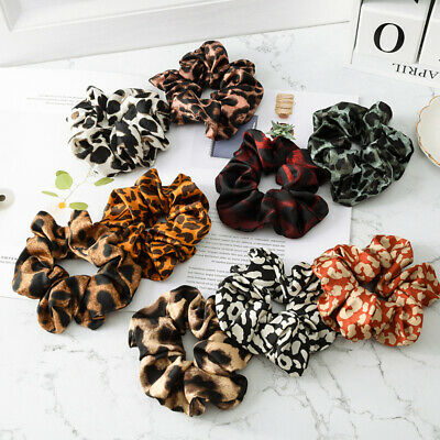 Ladies Elastic Scrunchy Hair Tie Leopard Print Hair Rope Ring Ponytail Holder HL