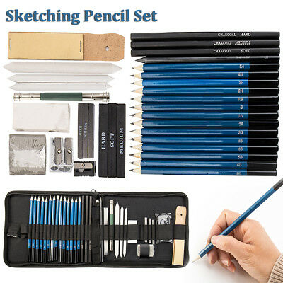 36X Drawing Sketch Set Charcoal Pencil Eraser Art Craft Painting Sketching Kit A