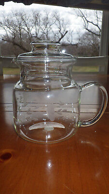 "Etched Teapot with lid in Heritage by Princess House 6"" tall w/o lid Exc Cond"