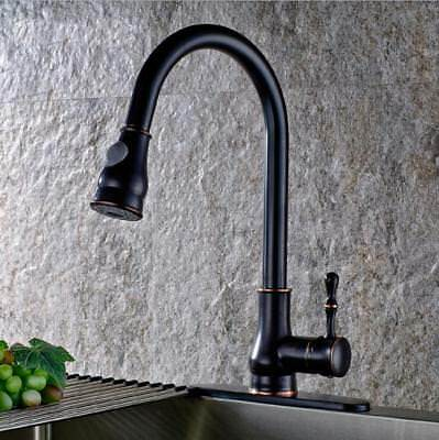 Kitchen Sink Single Handle Mixer Tap Swivel Pull Out Spray Faucet Spout Black