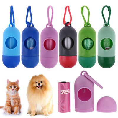 1 Roll Pet Dog Cat Poo Poop Bag Dispenser Waste Garbage Bags Carrier Set Holder