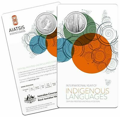 2019 Year of Indigenous Languages RAM 50 Cent Frosted Uncirculated Coin on Card