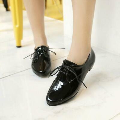 Womens Pointy Toe Patent Leather Brogue Oxfords Vintage Lace Up Flat Heels Shoes