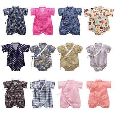 Newborn Toddler Baby Boy Girl Short Sleeve Floral Kimono Romper Jumpsuit Clothes