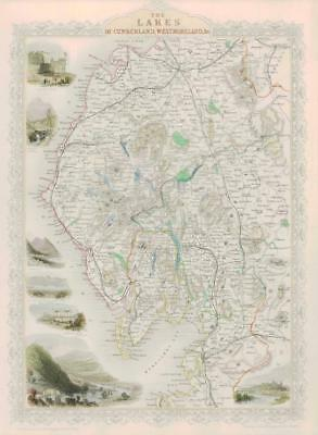 1851 ORIGINAL ANTIQUE Map THE LAKES OF CUMBERLAND WESTMORELAND by Tallis Rapkin