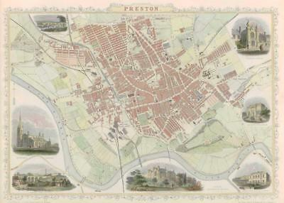 "1851 ORIGINAL ANTIQUE City Map of "" PRESTON "" in Lancashire by Tallis & Rapkin"
