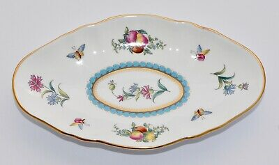 Spode TRAPNELL Oval Footed Dish - VGC - Fruit, Floral & Butterflies 16.6 x 9.6cm