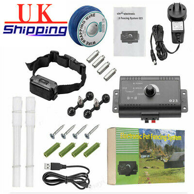 Dog Collar Pet Containment System Electric Shock Boundary Control Fence UK