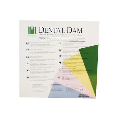 "Coltene Whaledent H02146 Hygenic Rubber Dental Dams 6"" x 6"" Thin Green 36/Bx"