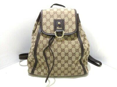 f7a4834215b822 Auth GUCCI GG 141642 DarkBrown Beige Jacquard & Leather Backpack