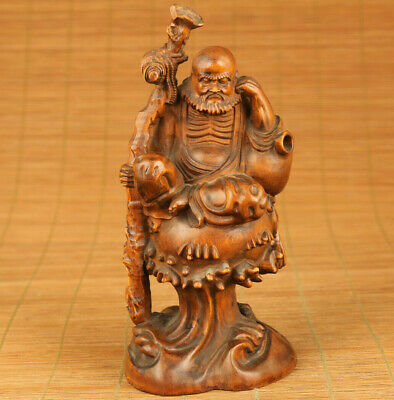 Chinese old boxwood hand carving arhat walking stick statue decoration