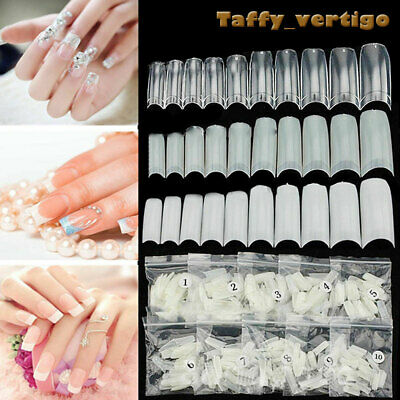 500x Artificial French False Acrylic Nail Art Tips White Clear Natural UV Gel UK