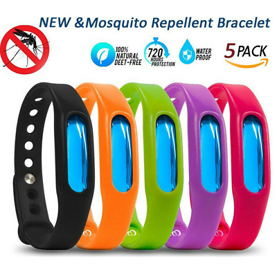 5x Anti Mosquito Bug Insects Repellent Wrist Band Protection Bracelets Deet Free