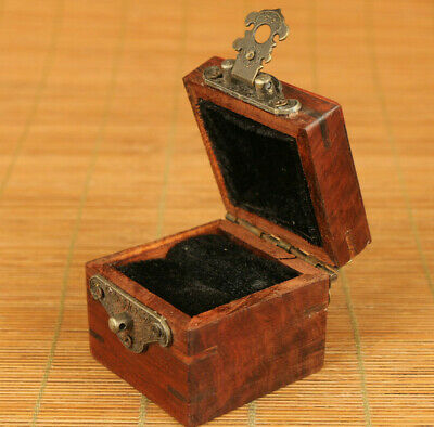 Antiques old wood hand carving statue netsuke noble Ring Box decoration gift