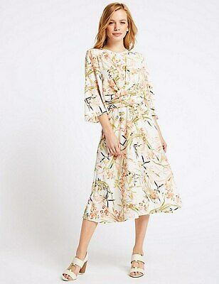 1cea9fa0a6c3 New Ivory Floral Summer Midi Dress Wedding Mother Bride 10 Marks Spencer £45