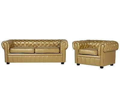 Vintage Faux Leather 3 Seater Sofa Armchair Set Buttoned Scroll Arms Gold Cheste